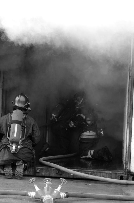 Door entry on under ventilated fire.