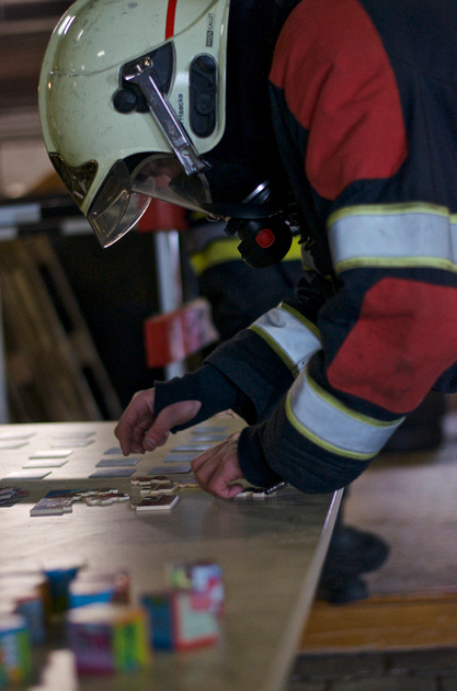 Puzzling firefighter with SCBA.